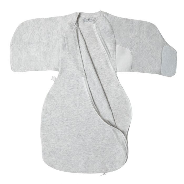 Grey marl swaddle wrap front view with zip open