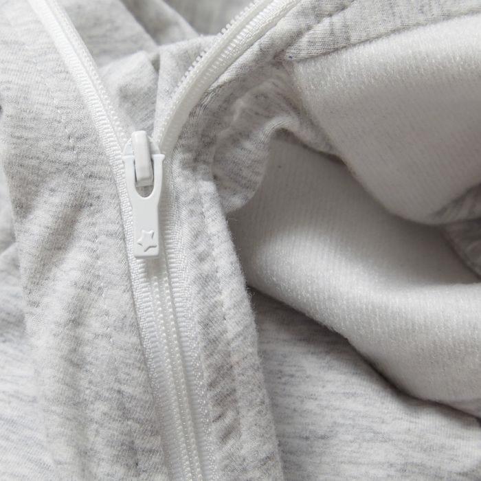 Grey marl swaddle wrap zip close up
