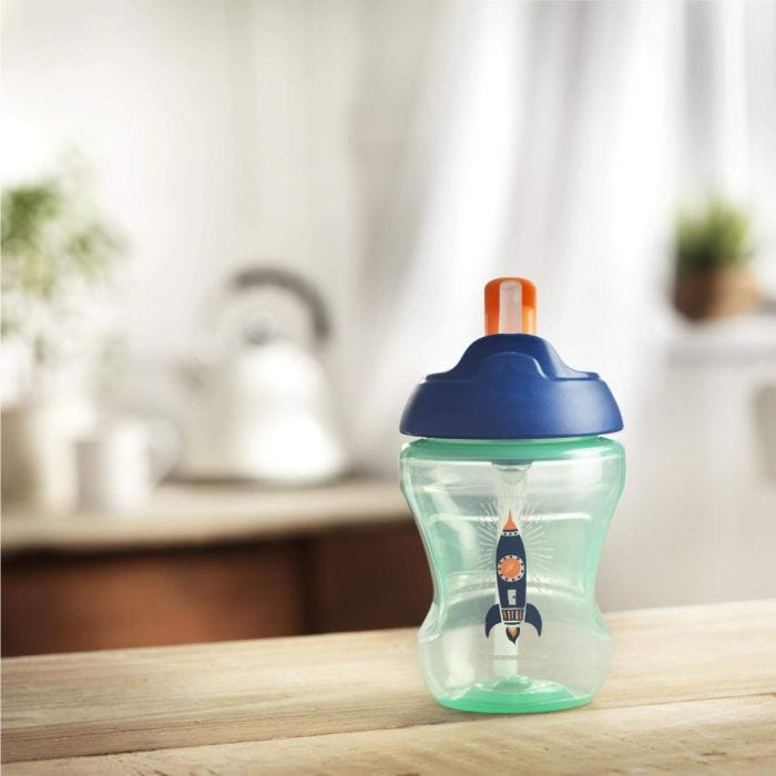 Blue trainer cup on kitchen table