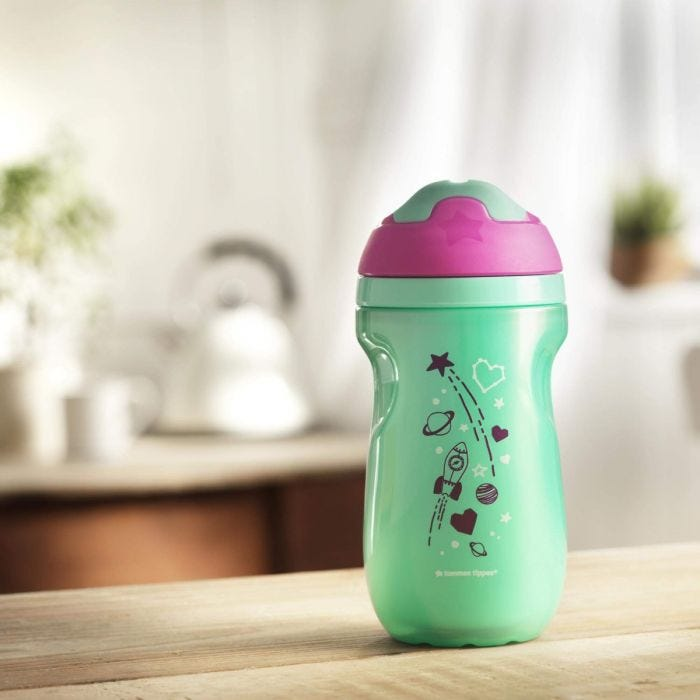 Insulated-sippee-cup-aqua-blue-with-pink-cap-and-rocket-planets-stars-design-sitting-on-kitchen-bench