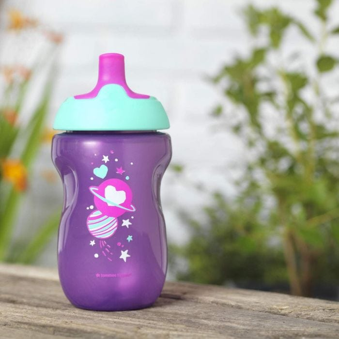 pink-purple-active-Sports-Bottle-12-months-plus-with-space-kid-design-outside-on-bench