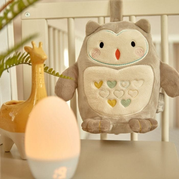 Ollie the Owl Light and Sound USB Rechargeable Sleep Aid Grofriend Hanging From Cot with Gro Egg2 Groegg2 Ambient Room Thermometer Placed on the Side Table