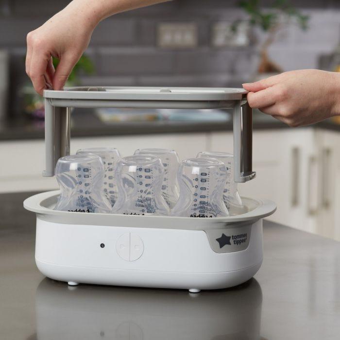 Super-steam Advanced Electric Steriliser - bottles being sterilised
