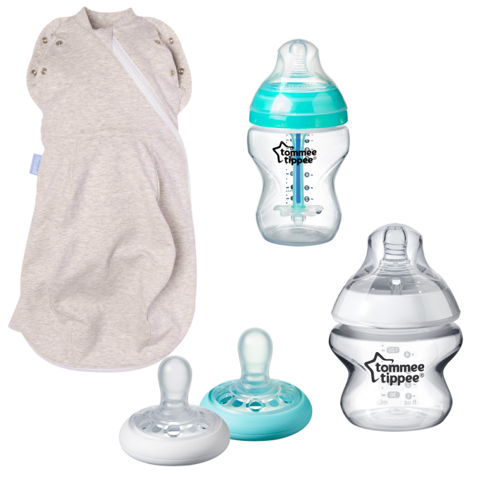 Swaddle, baby bottles and soother