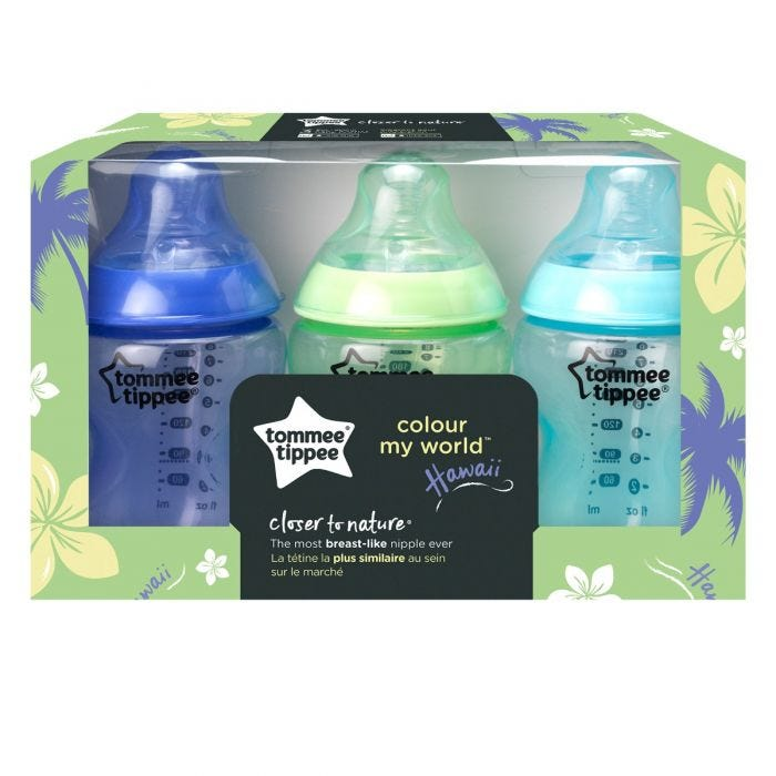 three pack color my world closer to nature baby bottle in Hawaii packaging