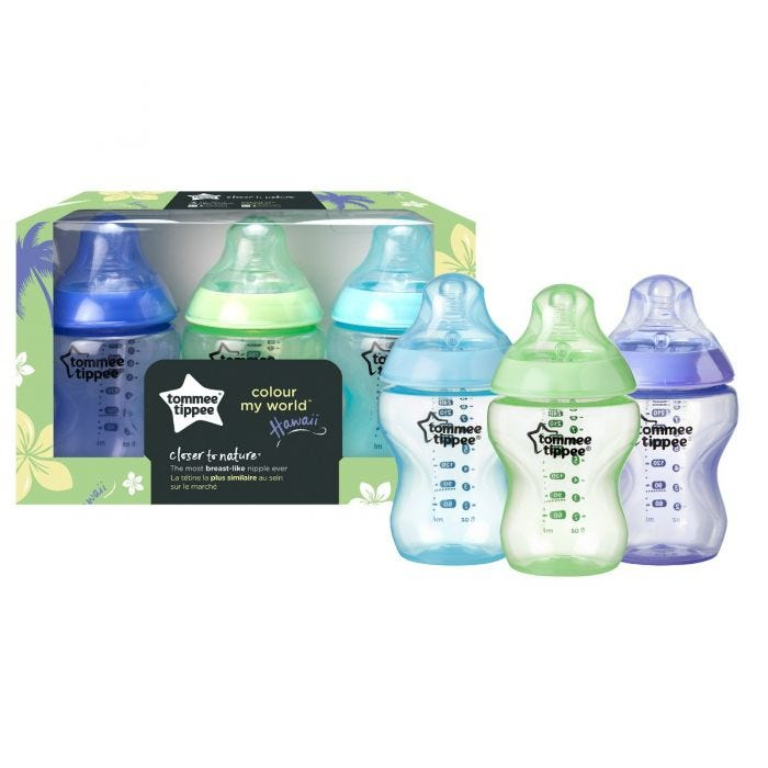 three pack Hawaii color my world closer to nature baby bottle in front of packaging