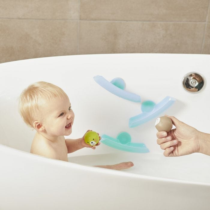 baby playing with Splashtime Waterfall Bath Toys in the bath