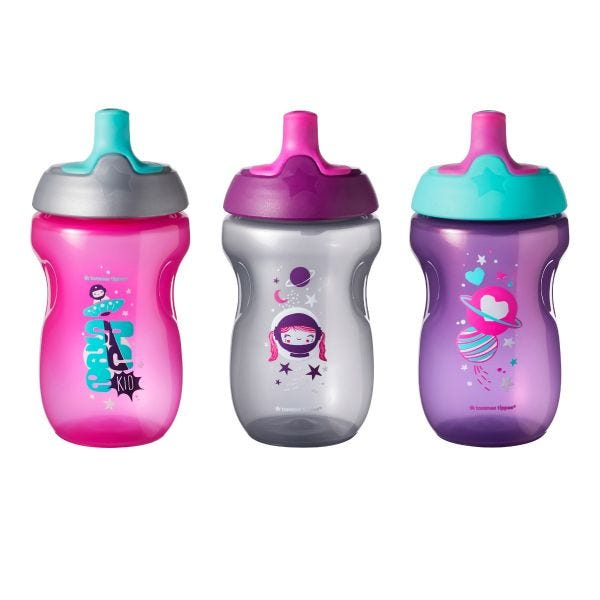 Active Sports Bottle, Pink (12 Months+) - 3 Pack
