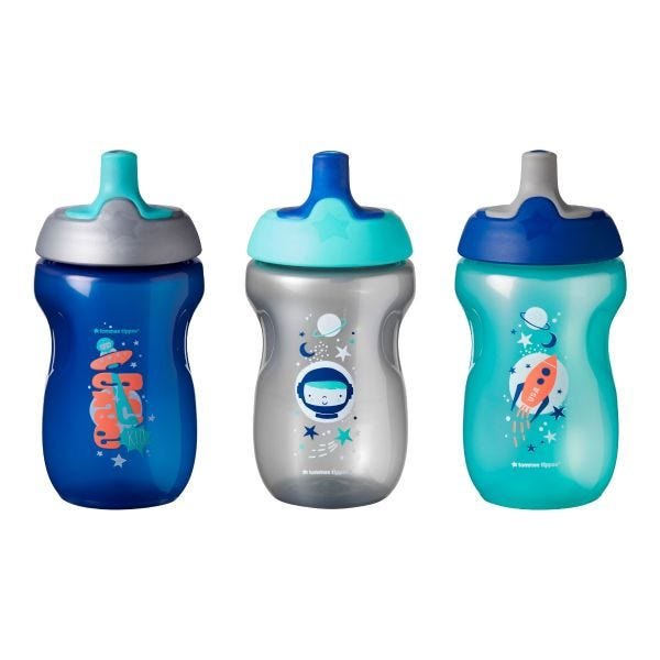 Active Sports Bottle, Blue (12 Months+) - 3 Pack