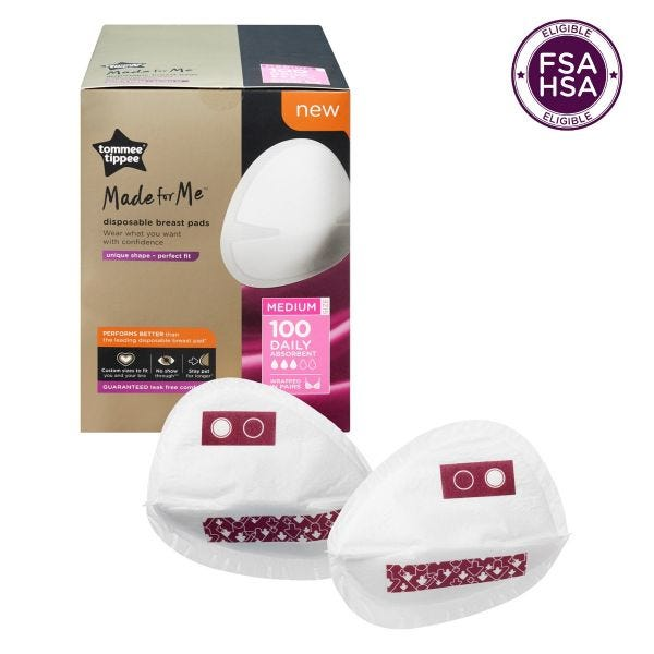 Made for Me Disposable Daily Absorbent Breast Pads, Medium - 100 pack