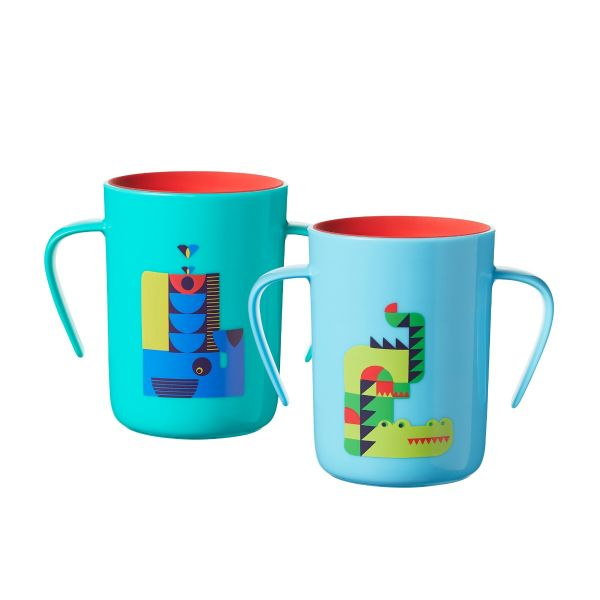 Easiflow Decorated 360° Cups, blue (6 months+) - 2 pack
