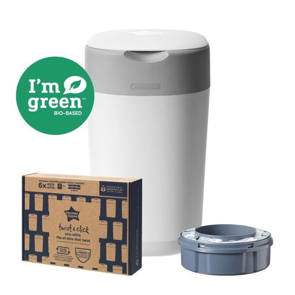 Twist & Click Nappy Disposal Bin Starter Set with 1x Refill and Pack of 6 Eco-Refills