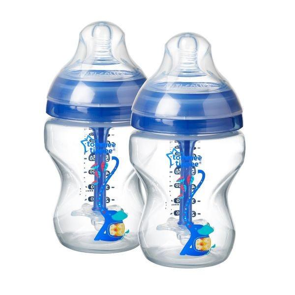 Advanced Anti-Colic Elephant Baby Bottles 9fl oz, blue - 2 pack