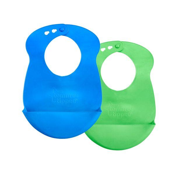 Easi-Roll Bibs, blue & green - 2 pack