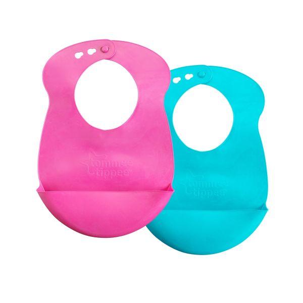 Easi-Roll Bibs, pink & aqua - 2 pack