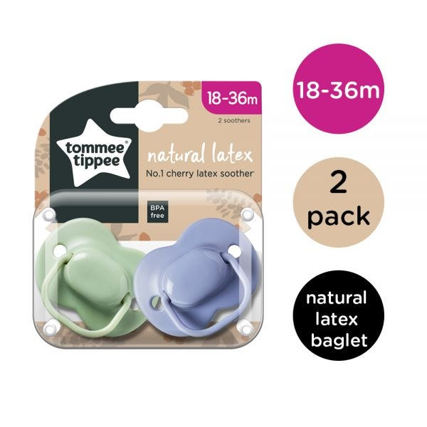 Natural Cherry Latex Soothers (18-36 months) - 2 pack