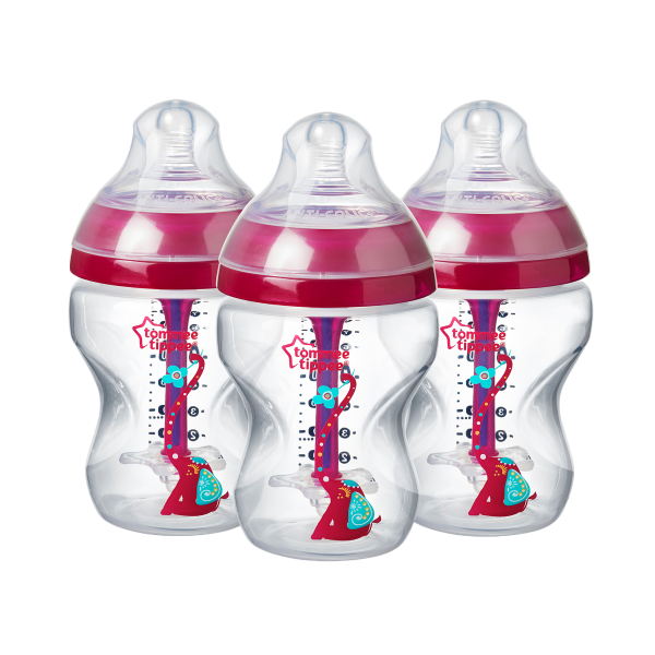 Advanced Anti-Colic Elephant Baby Bottles 9fl oz, pink - 3 pack