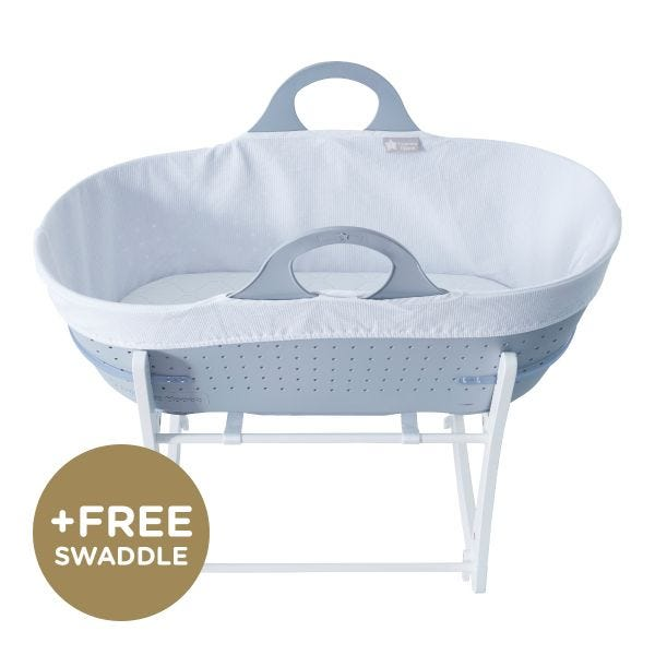 Sleepee Moses Basket with Stand, Grey