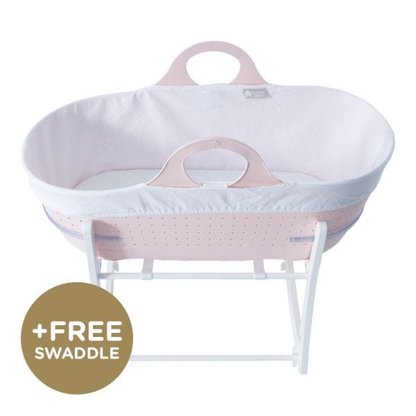 Sleepee Moses Basket with Stand, Pink