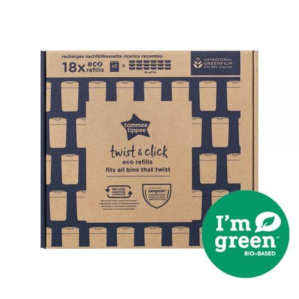 Twist & Click Nappy Bin Eco-Refills - 18 pack