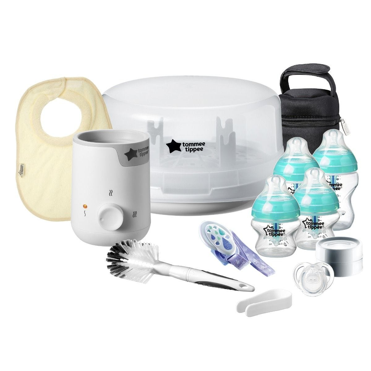 NEW Tommee Tippee Electric Steam Steriliser Set /& Bottles Brush Soother Feeding