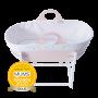 Pink sleepee moses basket with award roundal