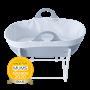 Grey sleepee moses basket with award roundal