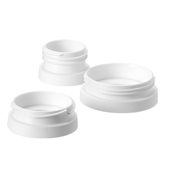 3 white Pump and Go Breast Pump Adapter in small, medium and large.