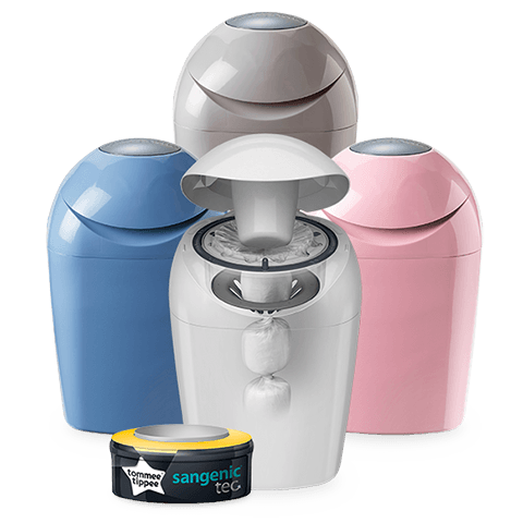 Sangenic Tec Nappy Disposal System in grey, pink blue and white.