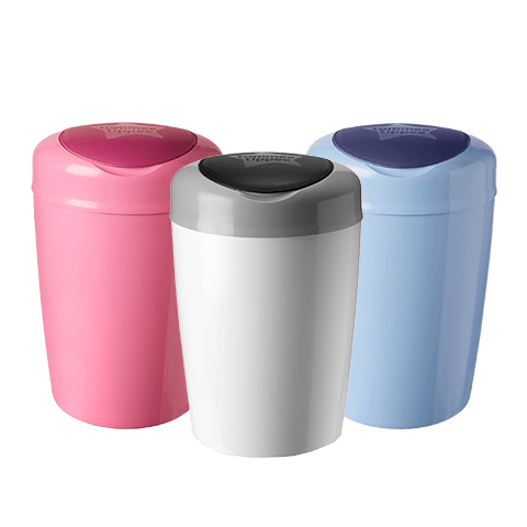 3 Simplee Nappy Disposal Bin in white, blue and pink