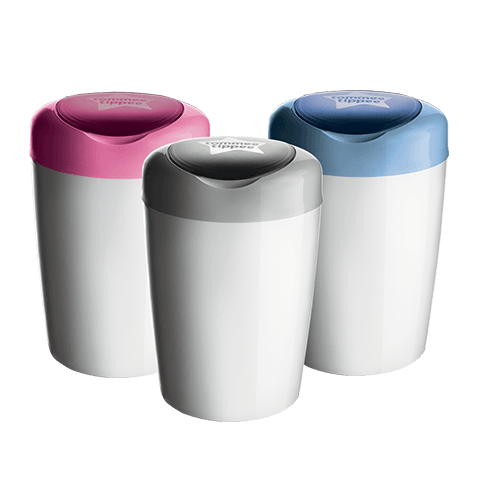3 Simplee Diaper Disposal Bin White with grey, pink and blue lids