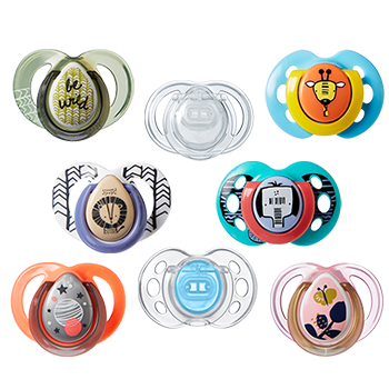 Pacifiers with fun designs and styles