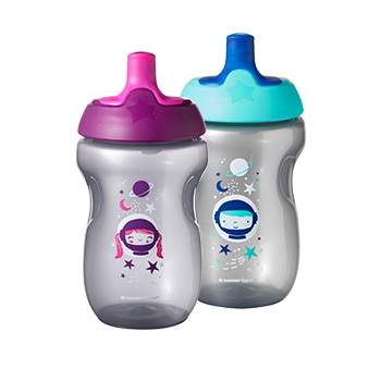 Sports bottle with lids and a fun design
